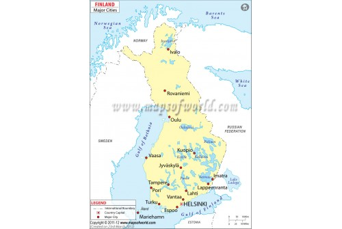 Map of Finland with Major Cities