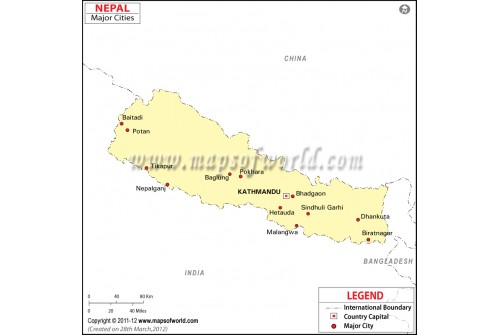 Nepal Map with Cities