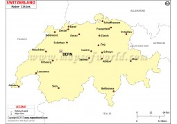 Map of Switzerland with Cities