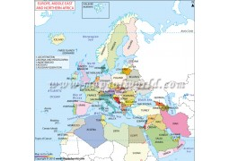 Europe, Northern Africa and Middle East Printed Map