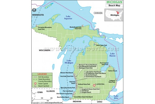 Michigan Beach Map