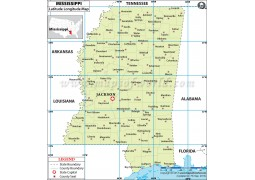 Mississippi Latitude and Longitude Map